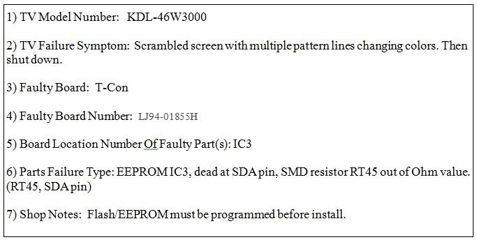 Sony LED LCD TV Repair
